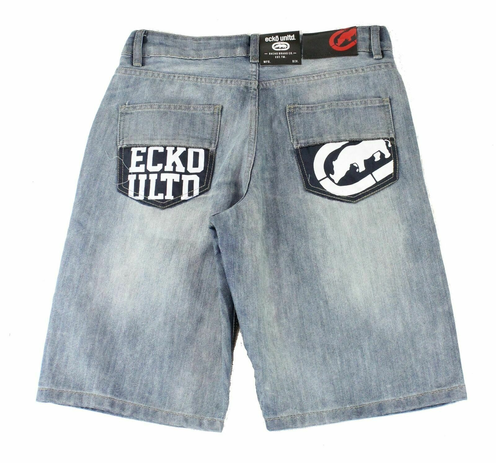 New-Ecko-Unltd-Mens-Shorts-Blue-Size-34-Denim-759-Relaxed-Logo-Printed-48-214 thumbnail 2