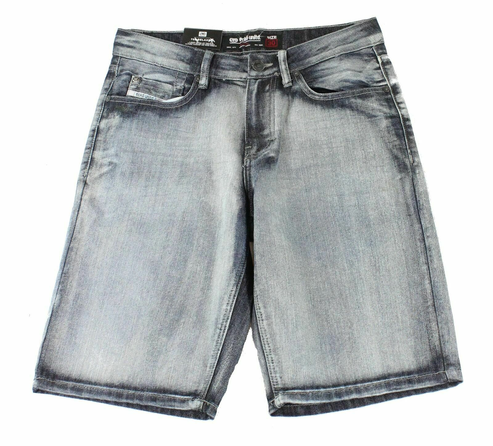 New-Ecko-Unltd-Mens-Shorts-Blue-Size-34-Denim-759-Relaxed-Logo-Printed-48-216