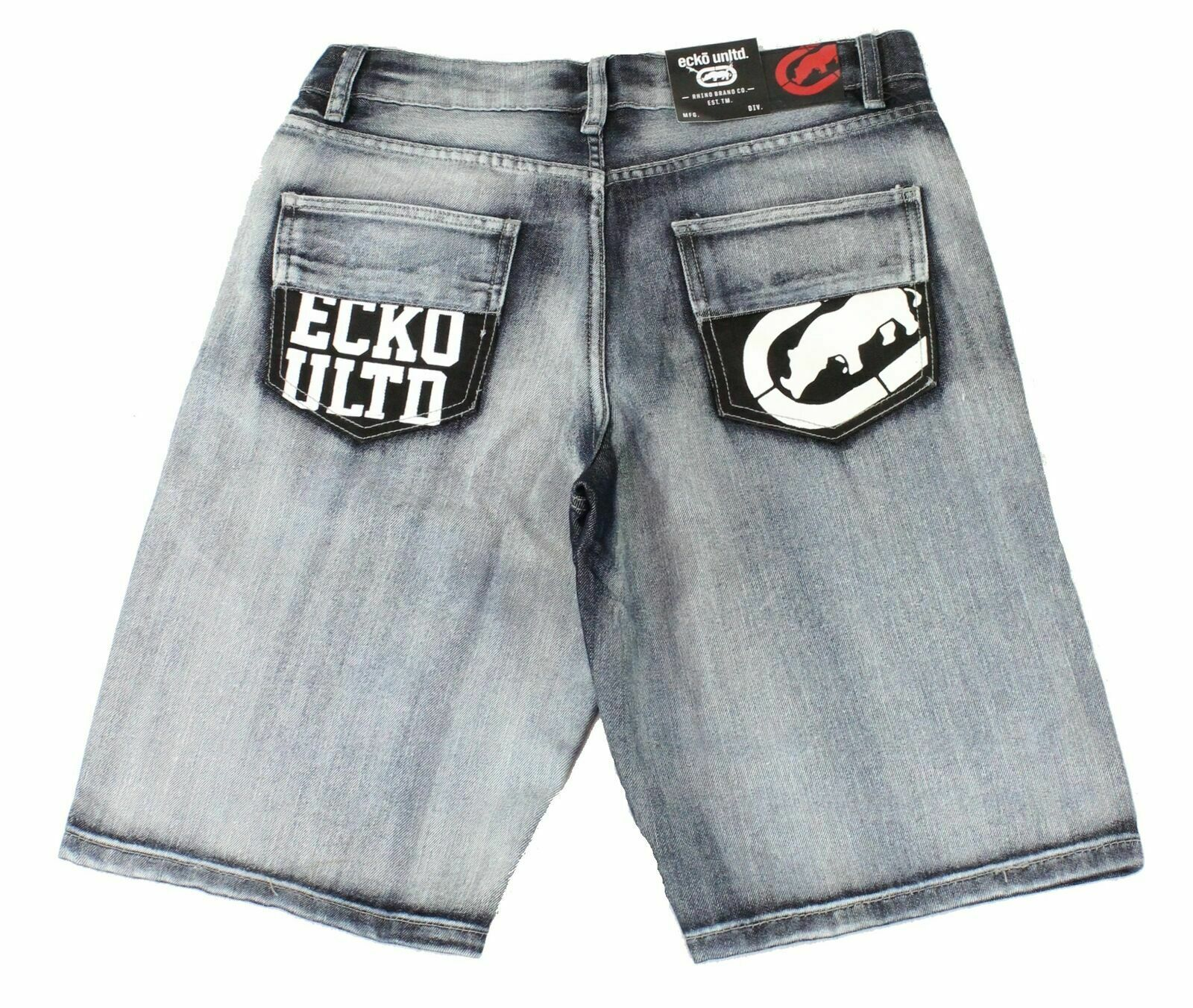 New-Ecko-Unltd-Mens-Shorts-Blue-Size-34-Denim-759-Relaxed-Logo-Printed-48-216 thumbnail 2