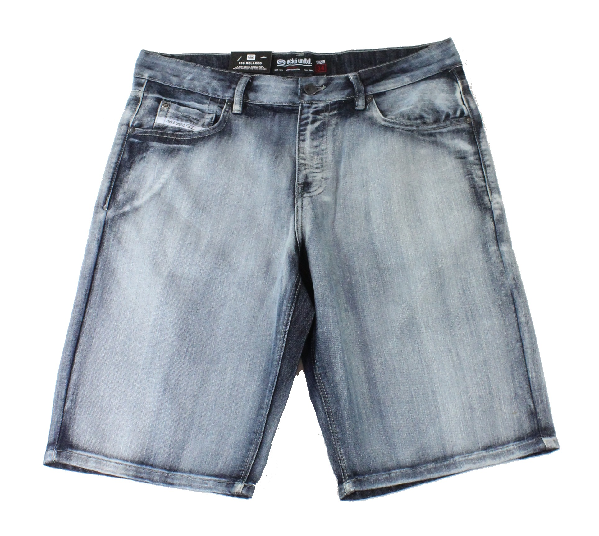 New-Ecko-Unltd-Mens-Shorts-Washed-Blue-Size-34-Denim-759-Relaxed-Fit-48-234