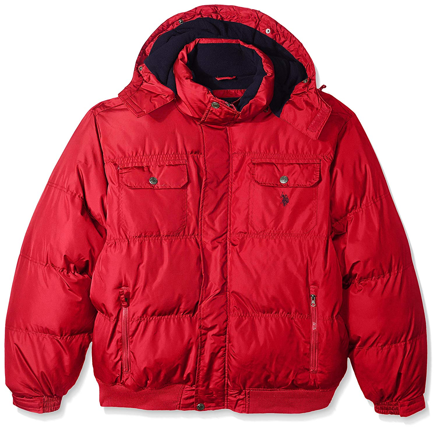 U-S-POLO-ASSN-Mens-Jacket-Red-Size-Big-2X-Hooded-Full-Zip-Puffer