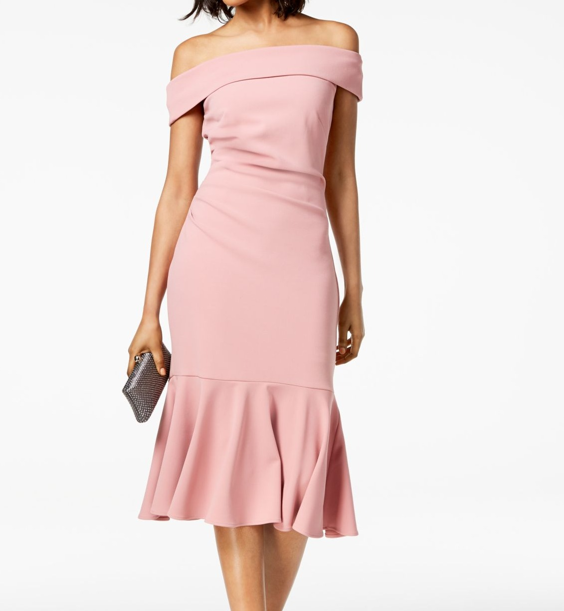 Vince-Camuto-Women-039-s-Dress-Pink-Size-8-Sheath-Off-Shoulder-Flounce