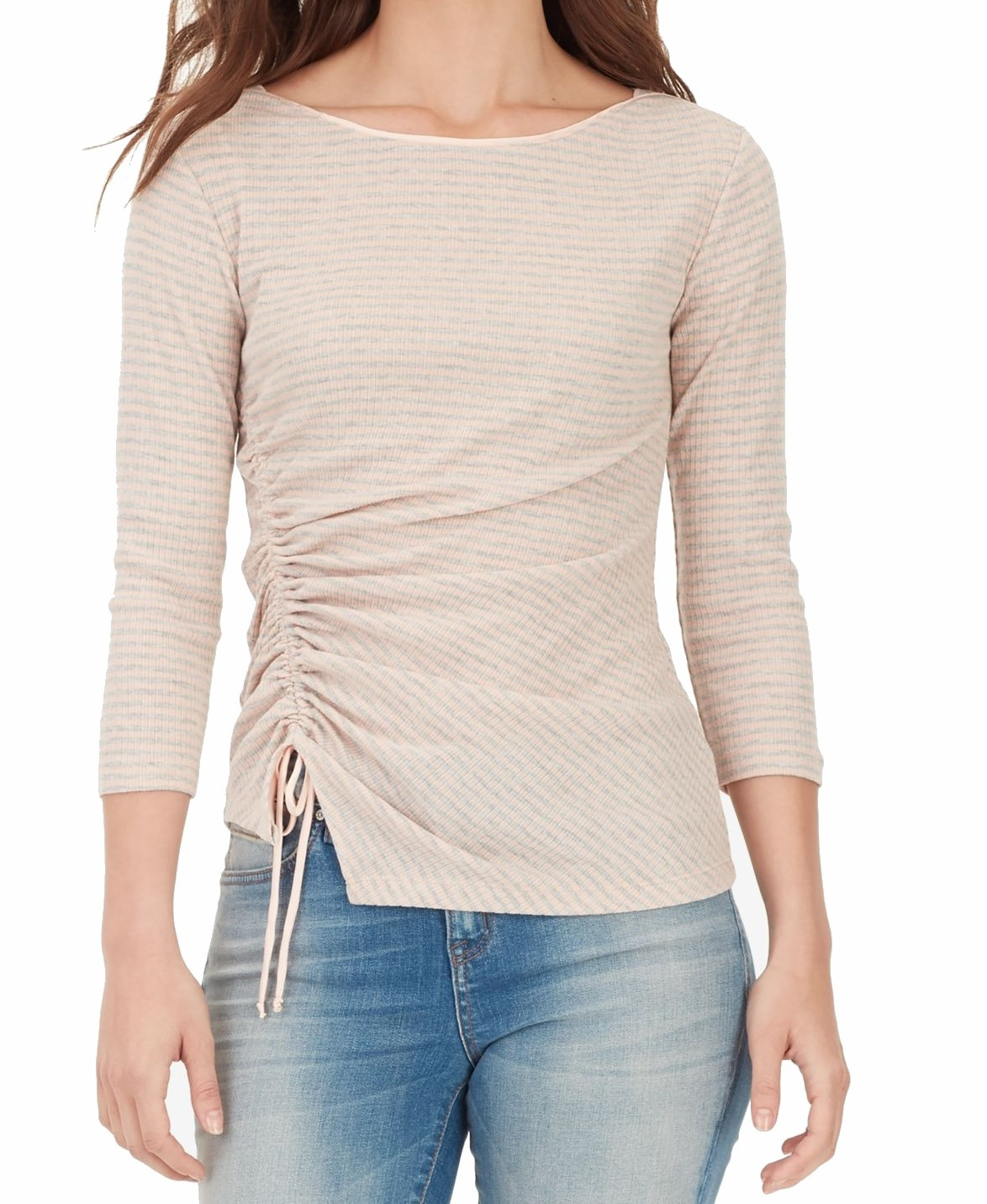 William-Rast-Women-039-s-Top-Blouse-Pink-Size-Large-L-Knit-Ruched-Striped