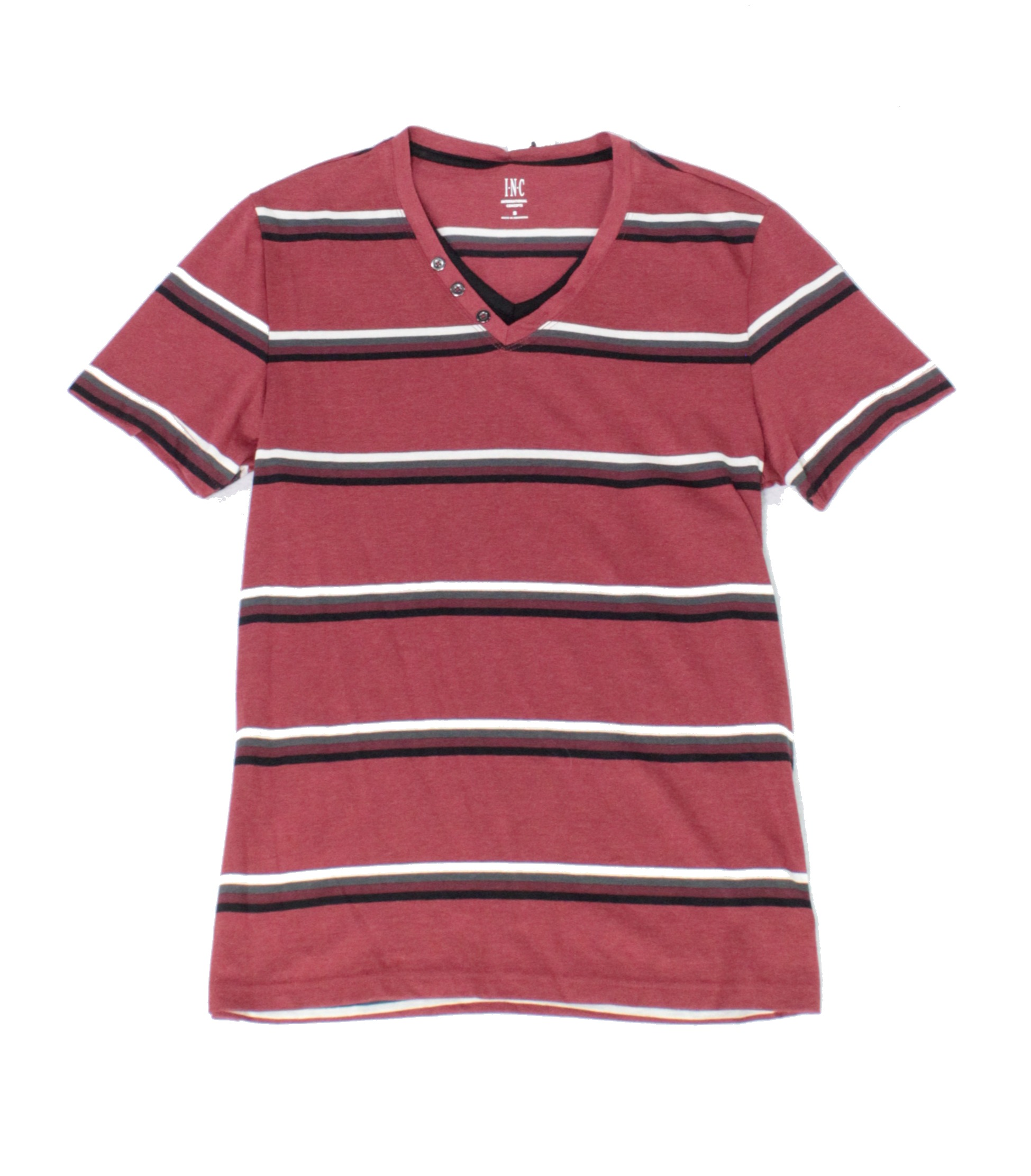 New-INC-Mens-Shirt-Red-Size-Small-S-Stripe-Print-Layered-Look-V-Neck-Tee-134