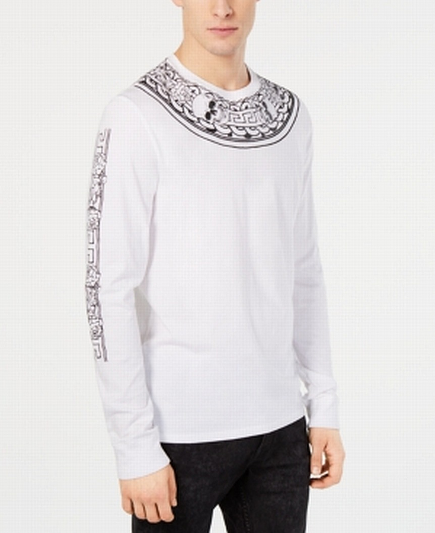 New-Guess-Mens-T-Shirt-White-Size-Small-S-Tee-Neck-Piece-Tribal-Crewneck-49-205