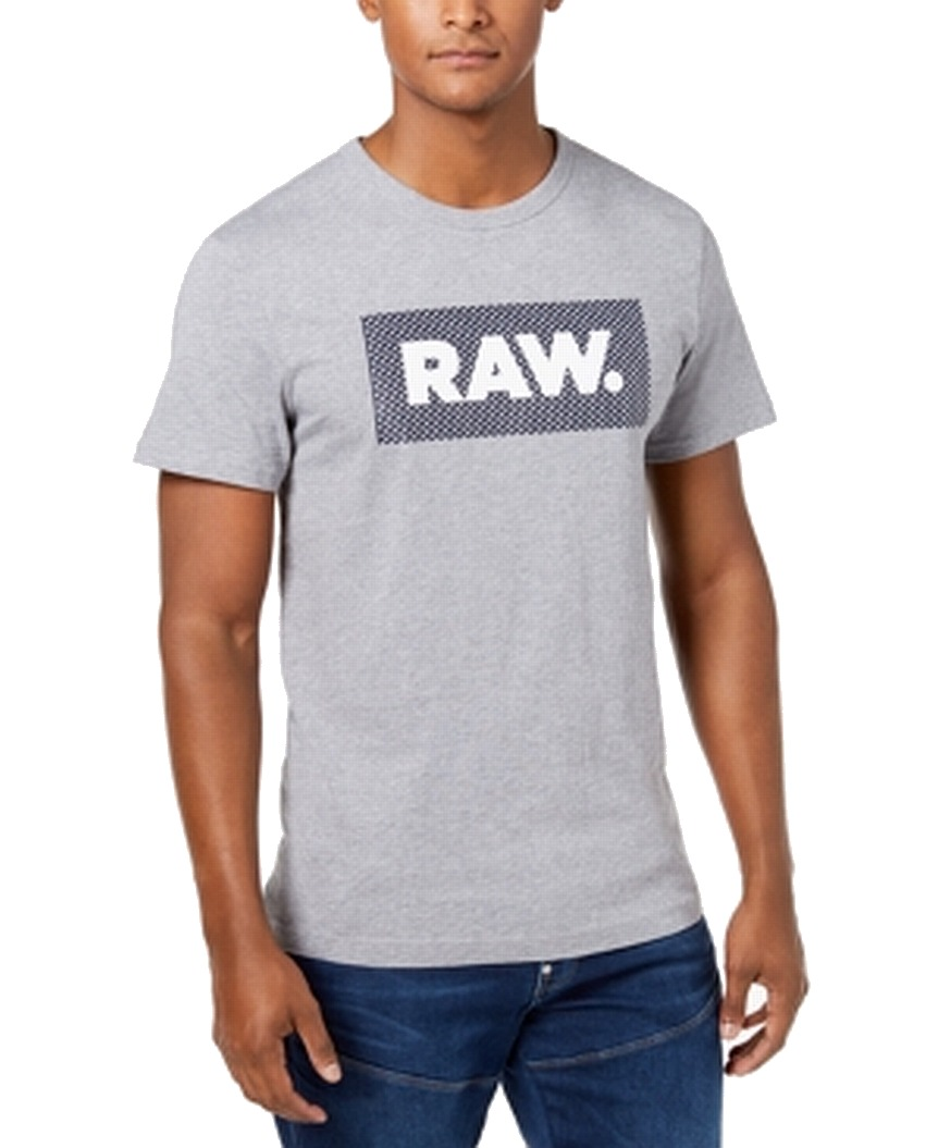 New-G-Star-Raw-Mens-T-Shirt-Gray-Size-Large-L-Chest-Logo-Tee-Crewneck-35-212