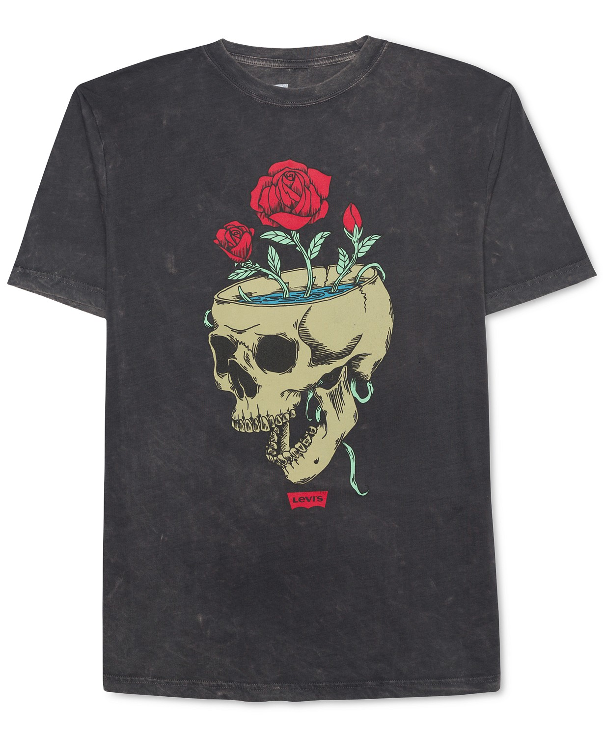 New-Levi-039-s-Mens-Black-Size-XL-Skull-Roses-Graphic-Print-Crewneck-Tee-Shirt-099 thumbnail 1