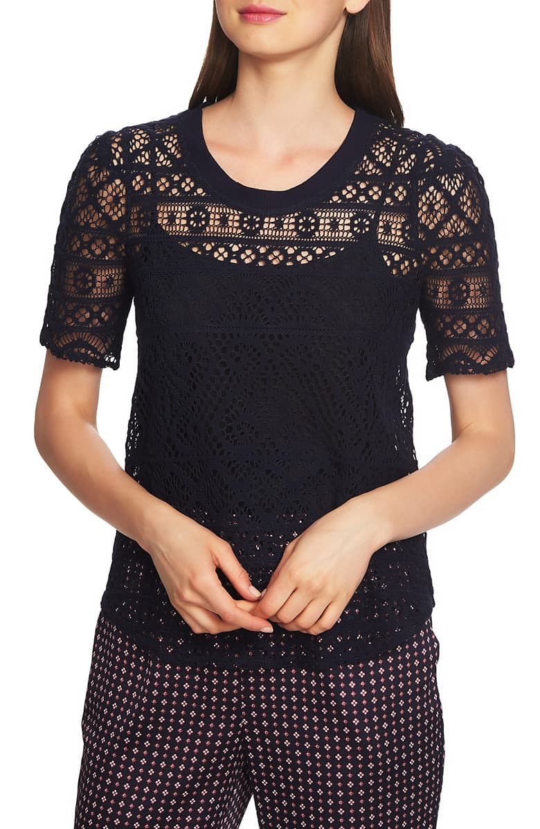 1.STATE Womens Sheer Knit Blouse