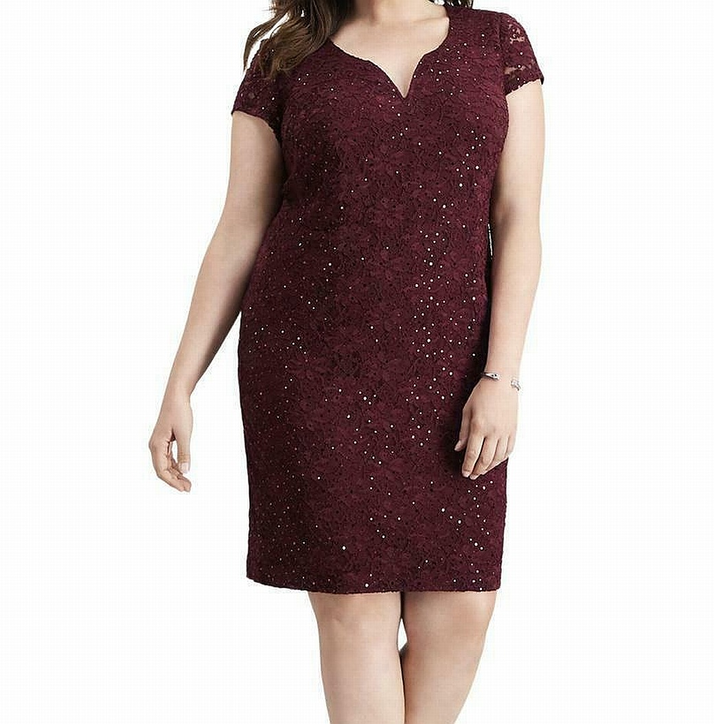 Ronni Nicole Red Tiered Stretch Lace Sheath Cocktail Dress w//Sequin 110041 $116