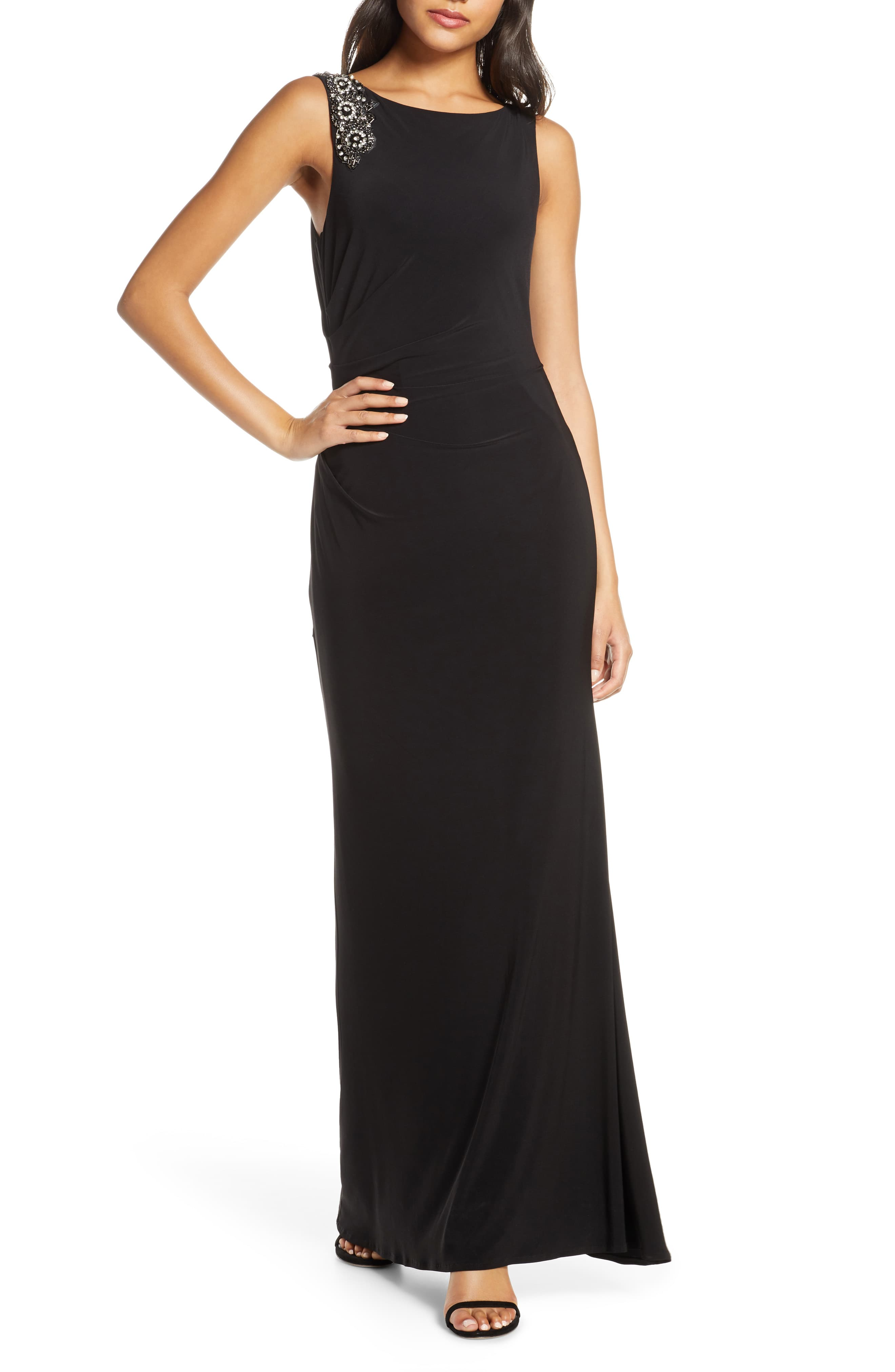 Vince-Camuto-Women-039-s-Dress-Black-Size-10P-Petite-Embellished-Gown