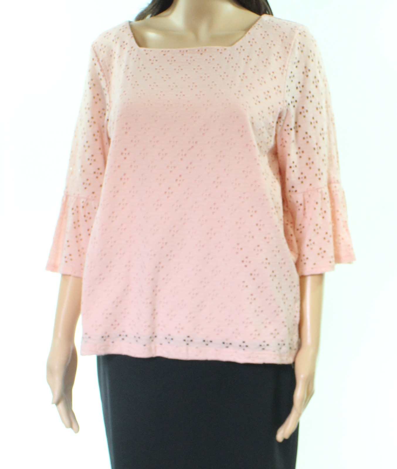 Leo-amp-Nicole-Women-039-s-Top-Blouse-Pink-Size-Medium-M-Eyelet-Square-Neck