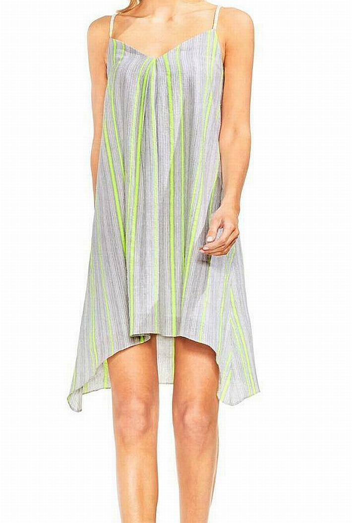 Vince-Camuto-Women-039-s-Gray-Size-PXS-Petite-Striped-High-Low-Shift-Dress