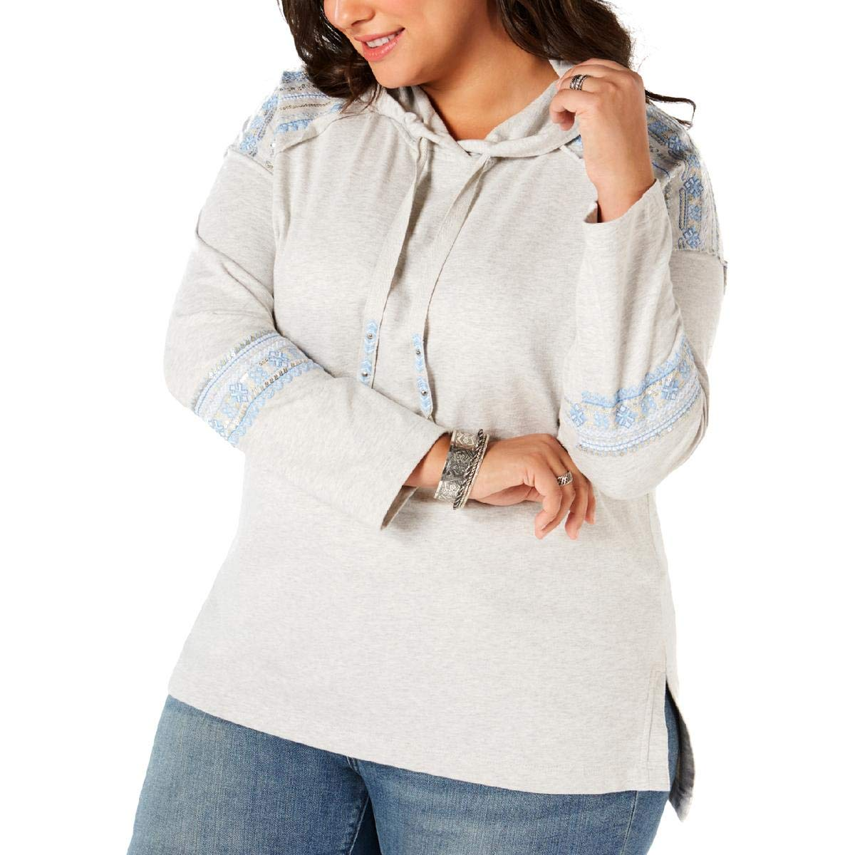 Style & Co. Women's Hoodie Gray 2X Plus Embroidered Sequin D