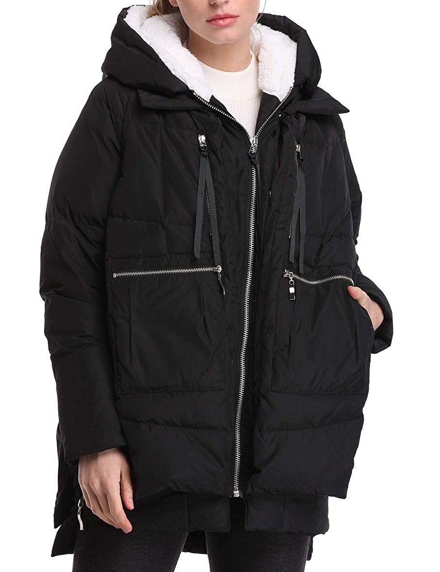 Orolay Women's Coat Black Size Small S Puffer Hooded Parka F