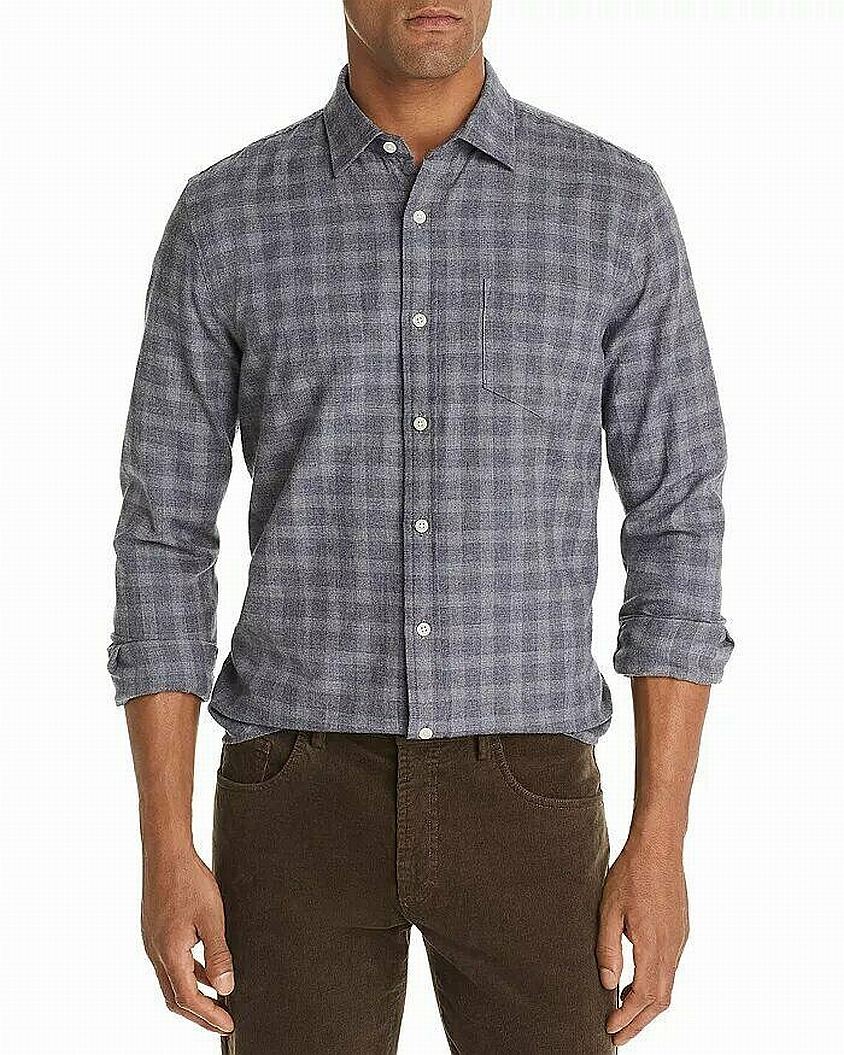 Designer Brand Mens Shirt Blue Size Medium M Plaid Classic Button Up $98 #023