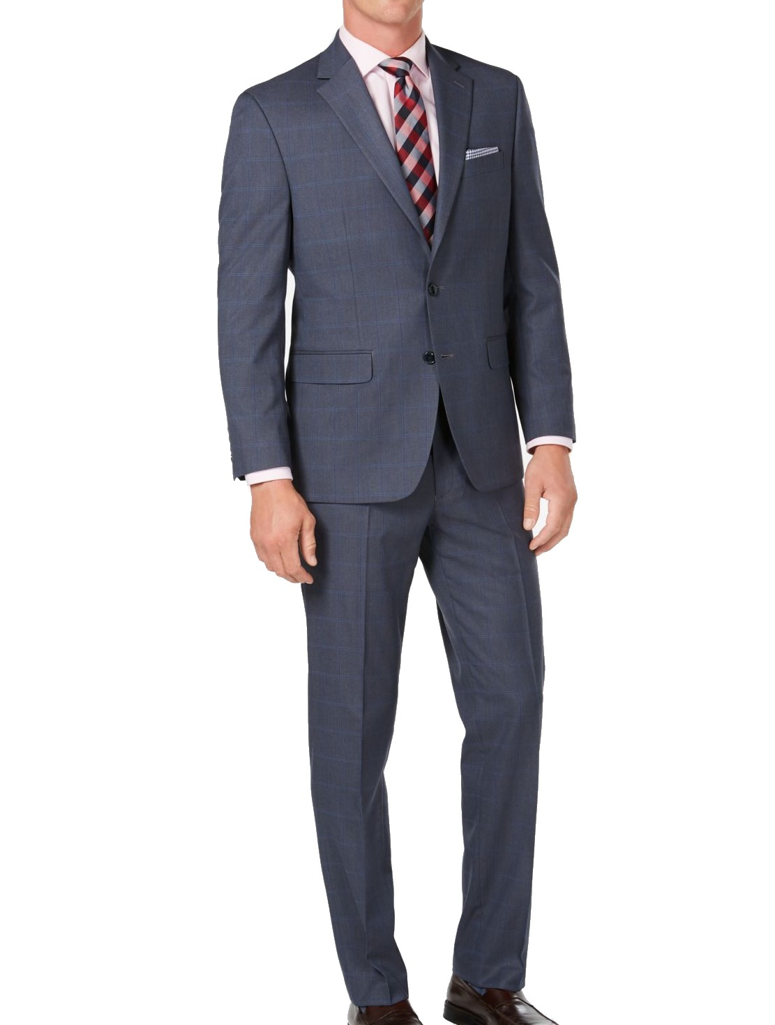 Club Room Mens Suit Blue Size 42 Windowpane Classic Fit 2 Piece $395 #038