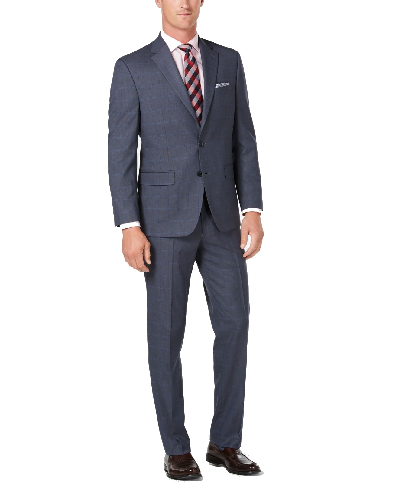Club Room Mens Suit Set Blue Size 38 2 Piece Regular Fit Windowpane $395 #213